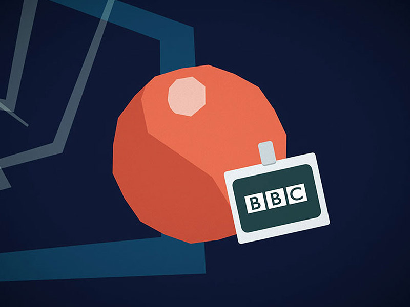 Still from BBC Information Security e-learning animations — produced by Matobo; an abstract character wears a BBC name-badge