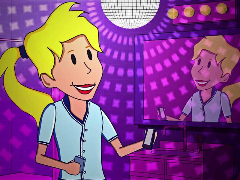 Still from animated promo for the Brush DJ app — woman holds her smartphone in front of a bathroom mirror