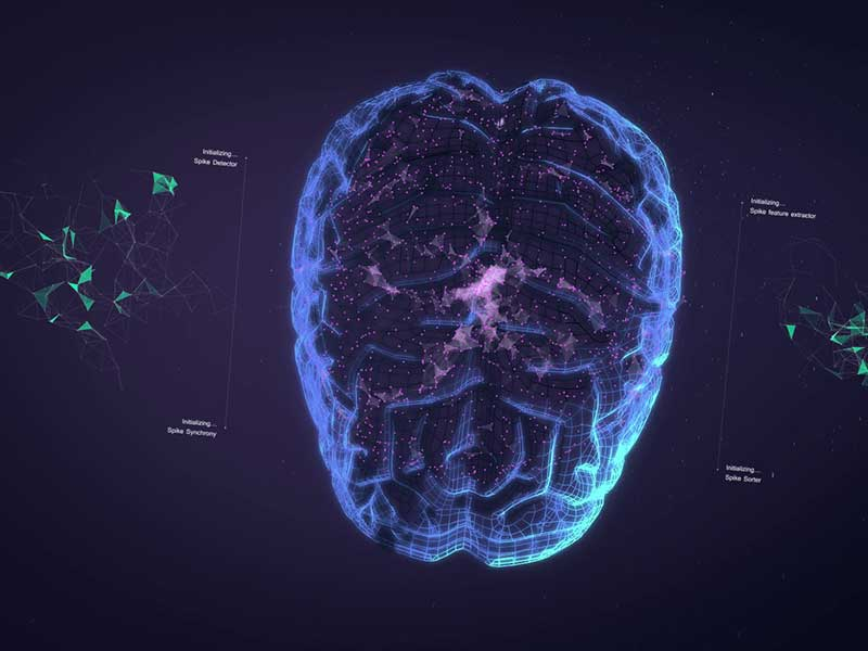 Still from 3D animated promo for CARMEN Neuroscience platform — A glowing wireframe image of the human brain