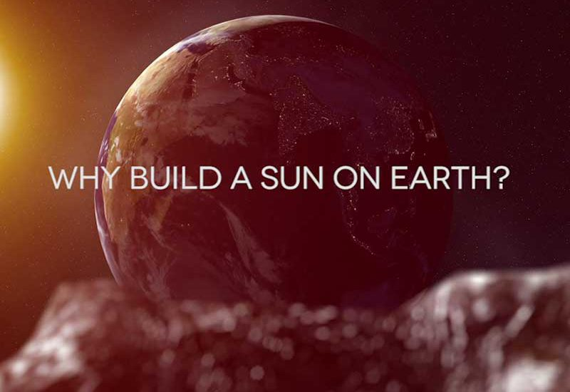 Title shot from animated documentary Why Build a Sun on Earth — 3D rendered scene of earth-rise seen from the moon
