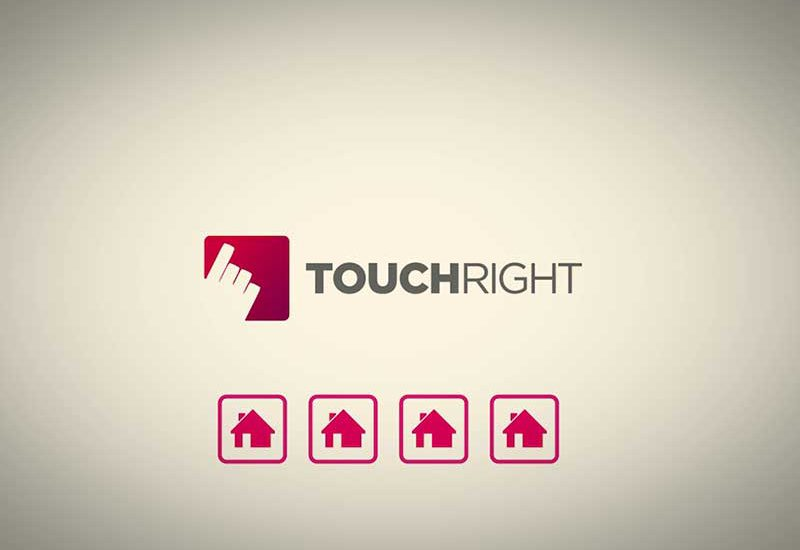 Still from animated promo for TouchRight software — The TouchRight logo above icons of houses