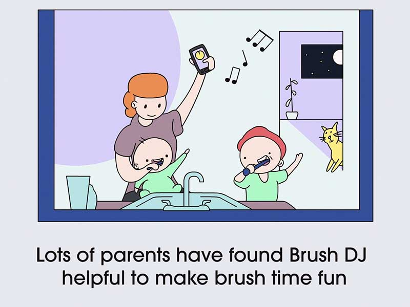 Screenshot from Brush DJ children's centre resource. Drawings of mum and kids at brush time with caption 'Lots of parents have found Brush DJ helpful to make brush time fun'.